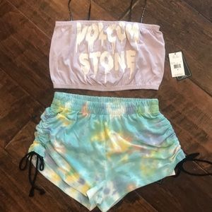 Volcom stone tube top and shorts